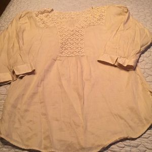 Chicos sheer cotton Tunic sz 2/14 with lace detail